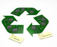 Recicle y repare a las placas de circuito electrónicas Foto de archivo libre de regalías