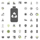 Recicled battery icon. Eco and Alternative Energy vector icon set. Energy source electricity power resource set vector. Recicled battery icon. Eco and Royalty Free Stock Photography