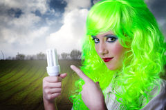 Recicling Green Fairy Girl Royalty Free Stock Photography