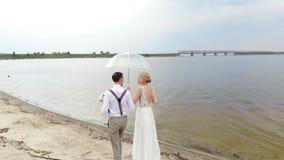 Recienes casados aero-, hermosos que caminan a lo largo de la playa, debajo de un paraguas transparente, contra el cielo azul, el almacen de metraje de vídeo