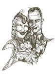 Recienes casados asustadizos Foto de archivo libre de regalías