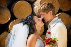 Recienes casados cerca del registro Imágenes de archivo libres de regalías