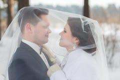 Recienes casados de los pares que caminan en un bosque del invierno Foto de archivo