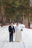 Recienes casados de los pares que caminan en un bosque del invierno Fotografía de archivo libre de regalías