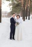 Recienes casados de los pares que caminan en un bosque del invierno Imagen de archivo libre de regalías