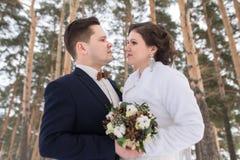 Recienes casados de los pares que caminan en un bosque del invierno Imagen de archivo
