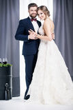 Recienes casados en un vestido de boda y un traje Imagen de archivo libre de regalías