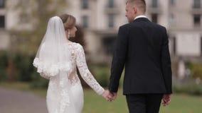 Recienes casados felices que caminan en el parque Novia y novio elegantes del handome afuera metrajes