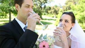 Recienes casados felices que tuestan con champán por el pastel de bodas metrajes