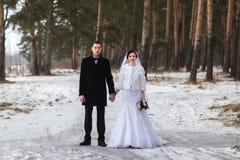 Recienes casados jovenes de los pares que caminan en un bosque del invierno en la nieve Imagenes de archivo