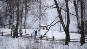 Recienes casados jovenes que caminan afuera La novia y el novio caminan juntos en el parque en invierno o verano y las manos sost Fotos de archivo libres de regalías