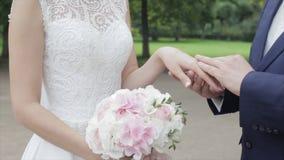 Recienes casados jovenes que caminan afuera La novia y el novio caminan juntos en el parque en invierno o verano y las manos sost Imagen de archivo