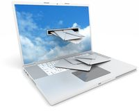 Recieving email on your laptop Stock Image