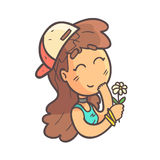 Recieving A Flower Girl In Cap, Choker And Blue Top Hand Drawn Emoji Cool Outlined Portrait. Part Of Funky Flat Vector Sticker Series With Teenager Different Royalty Free Stock Photos