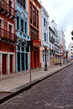 Recife antique. Streets with houses and lampposts in the city of Recife old Stock Photography