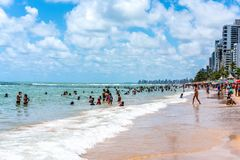 Recife, boa Viagem plaża, Pernambuco Brazylia, Styczeń, -, 2019: Lato przy plażą fotografia royalty free
