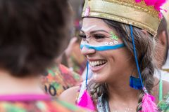 Carnival in Recife, Pernambuco, Brazil, 2018. Recife, Brazil - February 9th, 2018: Portrait of a woman at Carnival. The beginning of the celebration of Carnival stock photography
