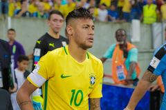 Brazil v Uruguay - FIFA 2018 World Cup Qualifiers. RECIFE, BRAZIL - MARCH 25: Neymar Jr some minutes before match between Brazil and Uruguay as part of FIFA 2018 Royalty Free Stock Photos