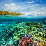 Recife de corais bonito no fundo do céu nebuloso e do vulcão. Fotografia de Stock