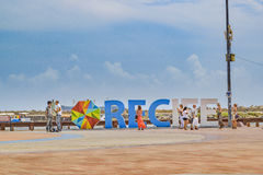 Recife Letters at Marco Zero Square Recife Brazil Royalty Free Stock Photography