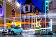 Recife, Pernambuco, Brazil - FEB, 2017: Light painting at Moeda Street stock images