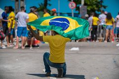 Fans of Brazil during the 2018 FIFA World Cup Russia. Recife, Pernambuco, Brazil - June 22, 2018: Fans of Brazil watching the match between the 2018 FIFA World Royalty Free Stock Photography