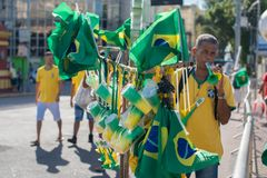 Fans of Brazil during the 2018 FIFA World Cup Russia. Recife, Pernambuco, Brazil - June 22, 2018: Fans of Brazil watching the match between the 2018 FIFA World Royalty Free Stock Photos