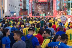 Fans of Brazil during the 2018 FIFA World Cup Russia. Recife, Pernambuco, Brazil - June 22, 2018: Fans of Brazil watching the match between the 2018 FIFA World Royalty Free Stock Photo