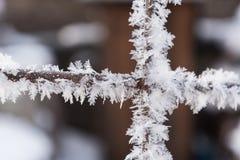 Recinto di filo metallico arrugginito coperto di brina nell'inverno Immagini Stock Libere da Diritti
