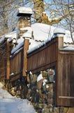 Recinto di legno di Snowy Fotografie Stock