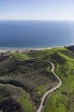 Recinto per bestiame Canyon Road Malibu California di Aerail Fotografia Stock