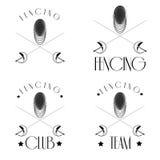 Recinzione del logos con lo schermitore, maschera, stagnole attraversate, ieasy per pubblicare Fotografia Stock