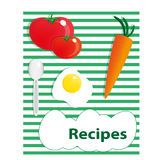 Recipe. Cover for a cookbook with food ingredients Stock Photo