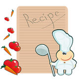 Recipe. Chef on the background of the blank for the recipe Royalty Free Stock Photo