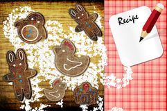 Recipe. Gingerbread on the board with the note for the recipe Stock Photo
