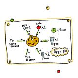 Recipe of apple pie, sketch for your design Royalty Free Stock Images