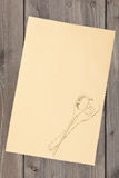 Recipe background. Empty paper for recipe with drawn cooking utensils on kitchen table Stock Photo