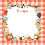 Recipe background with kitchen and restaurant. Utensils Stock Images