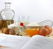 Recipe and baking. Cooking, ingrediens and old recipe concept still life Royalty Free Stock Images
