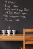Recipe on blackboard wall. Hand drawn muffins recipe on trendy blackboard wall Stock Images