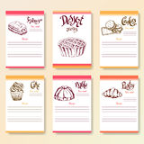 Recipe blanks collection. Dessert objects with hand dawn lettering. Vector food illustration Stock Photography