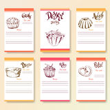 Recipe blanks collection. Dessert objects with hand dawn lettering. Vector food illustration Stock Image