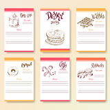 Recipe blanks collection. Dessert objects with hand dawn lettering. Vector food illustration Stock Photo