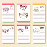 Recipe blanks collection. Dessert objects with hand dawn lettering. Vector food illustration Royalty Free Stock Photo