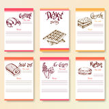 Recipe blanks collection. Dessert objects with hand dawn lettering. Vector food illustration Royalty Free Stock Photos