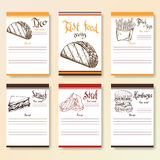 Recipe blanks collection. Fast food objects with hand dawn lettering. Vector food illustration Royalty Free Stock Photography