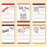Recipe blanks collection. Fast food objects with hand dawn lettering. Vector food illustration Stock Photography
