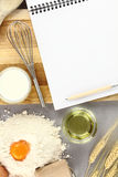 Recipe book. Blank Recipe book and food ingredients Royalty Free Stock Images