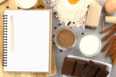 Recipe book. With chocolate and other ingredients Royalty Free Stock Images