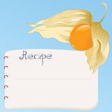 Recipe book. Bright recipe card with yellow physalis Stock Photo